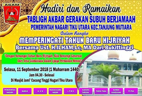 Meriahkan Tahun Baru Islam, Tanjung Mutiara Akan Gelar Tabligh Akbar