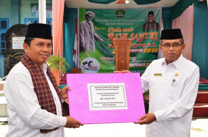 Kemenag Agam Salurkan Bantuan Rp.70 juta Untuk Korban Palu dan Donggala