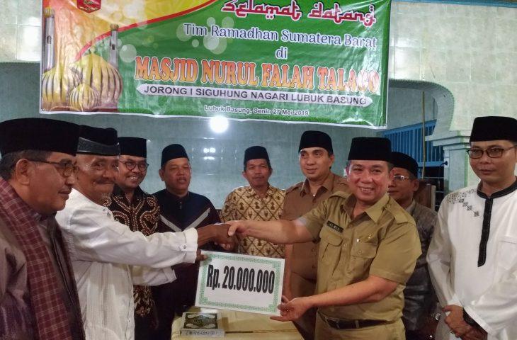 Tutup Kunjungan ke Kabupaten, TSR Provinsi Sumatera Barat Sambangi Mesjid Nurul Falah Talago
