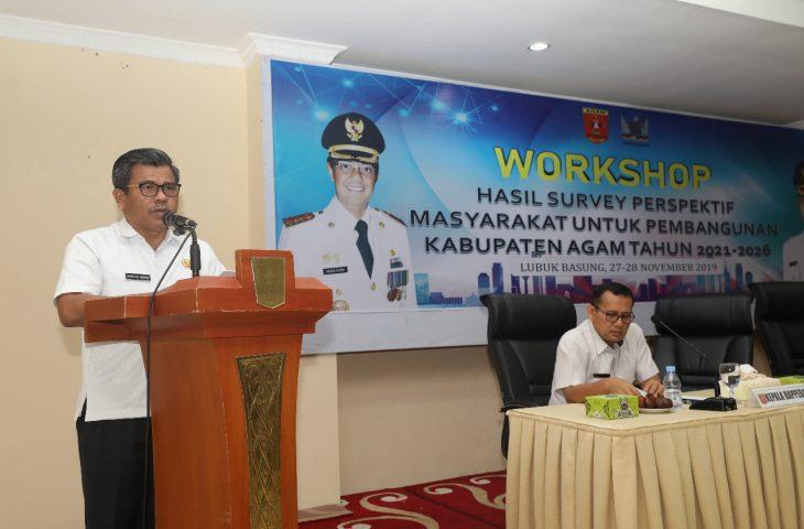 Pemkab Agam Gelar Workshop Hasil Survey Perspektif Masyarakat untuk Pembangunan Agam 2021-2026
