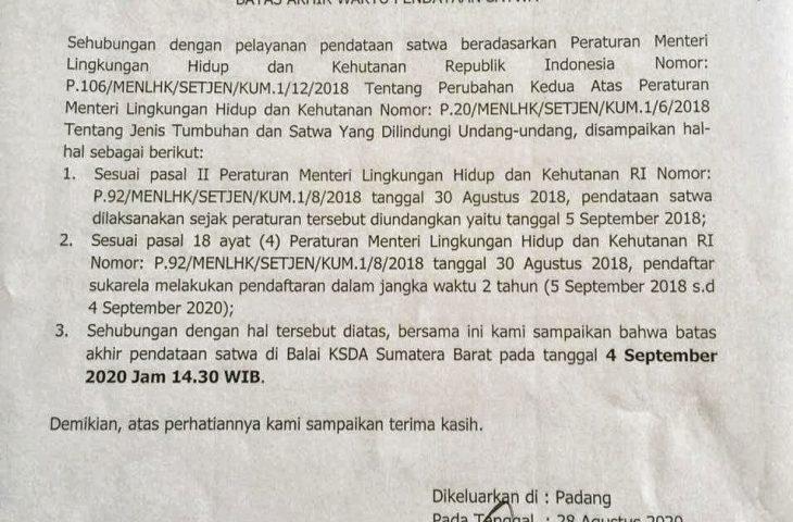 4 September Batas Akhir Pendataan Satwa ke BKSDA Resort Agam