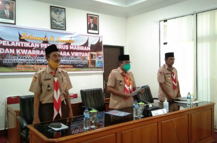 Ketua Kwarcab Agam Lantik Pengurus Mabiran dan Kwarran Secara Virtual