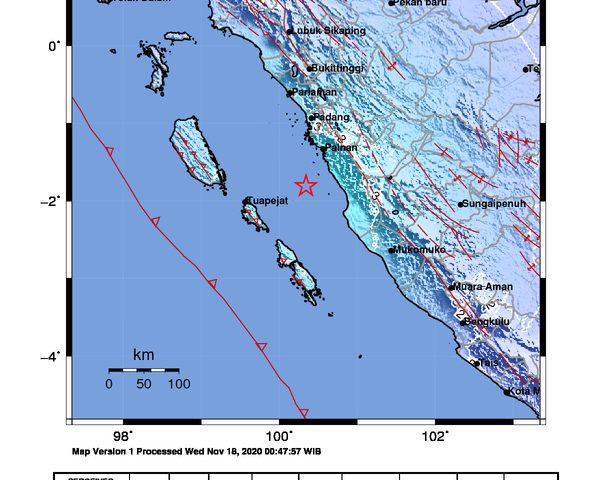 Gempa Bermagnitudo 5,3 di Pesisir Selatan Terasa Hingga ke Agam