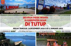 Seluruh Objek Wisata di Kabupaten Agam Ditutup Hingga 3 Januari 2021
